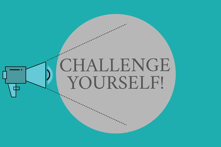 Conceptual hand writing showing Challenge Yourself. Business photo text Setting Higher Standards Aim for the Impossible. Stock Photo