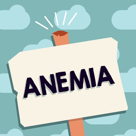 Text sign showing Anemia. Conceptual photo condition where there deficiency of red cells of haemoglobin in blood. Foto de archivo - 108531828