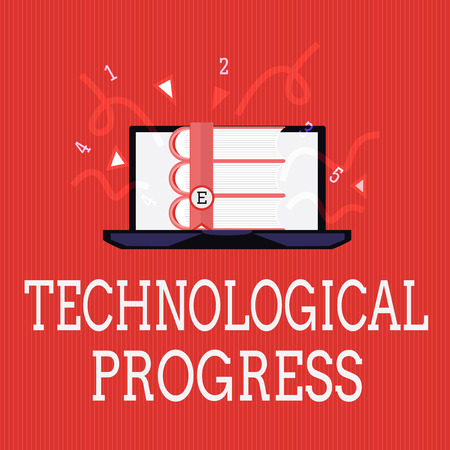 Writing note showing Technological Progress. Business photo showcasing overall Process of Invention Innovation Diffusion. 写真素材