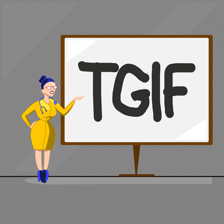 Text sign showing Tgif. Conceptual photo American family oriented show Friday Madness Celebration Rest day.