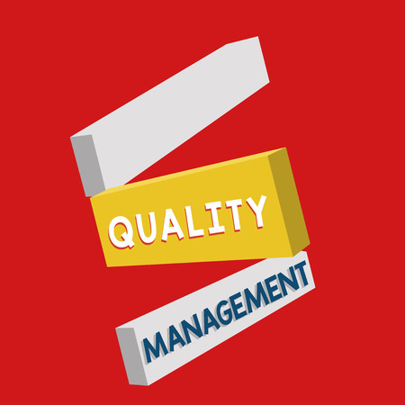Writing note showing Quality Management. Business photo showcasing Maintain Excellence Level High Standard Product Services. Stock Photo