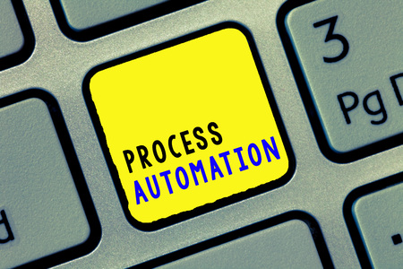 Conceptual hand writing showing Process Automation. Business photo text Transformation Streamlined Robotic To avoid Redundancy. Stock Photo