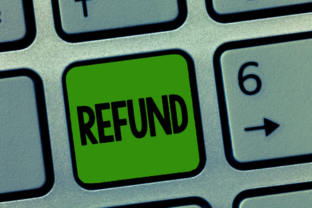 Handwriting text Refund. Concept meaning pay back money typically to customer who is not satisfied with goods. Imagens