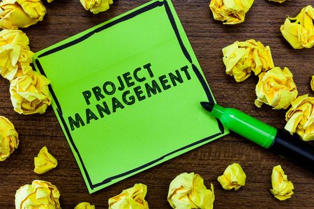 Text sign showing Project Management. Conceptual photo Application Process Skills to Achieve Objectives and Goal. Stockfoto