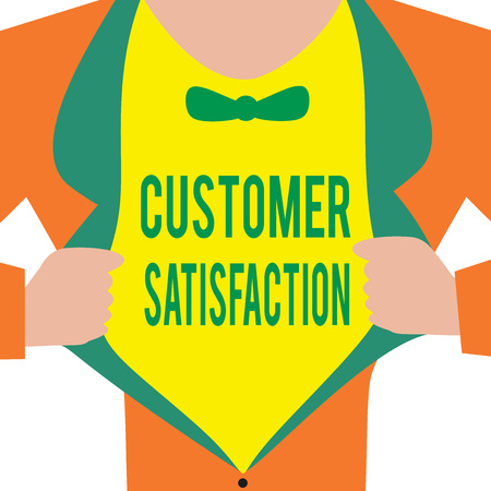 Handwriting text Customer Satisfaction. Concept meaning Exceed Consumer Expectation Satisfied over services.