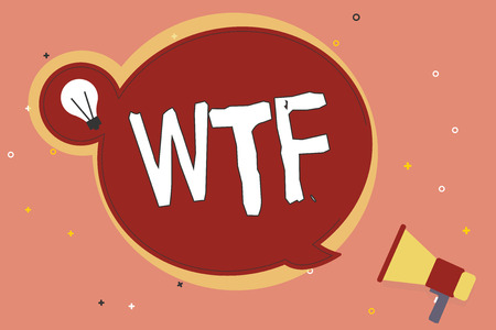 Word writing text Wtf. Business concept for offensive slang written abbreviation to show surprise and astonishment. Stock Photo