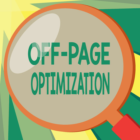 Conceptual hand writing showing Off Page Optimization. Business photo showcasing Website External Process Promotional Method Ranking.