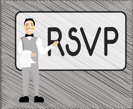 Text sign showing Rsvp. Conceptual photo Please reply to an invitation indicating whether one plans to attend.