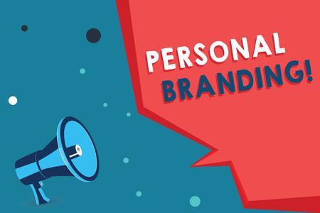 Escritura de texto Word Personal Branding. Concepto de negocio para la práctica de personas que se comercializan a sí mismas como marcas.