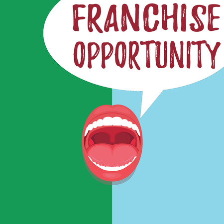 Conceptual hand writing showing Franchise Opportunity. Business photo text Business License Privilege Owner to Dealer Affiliation. Stock Photo