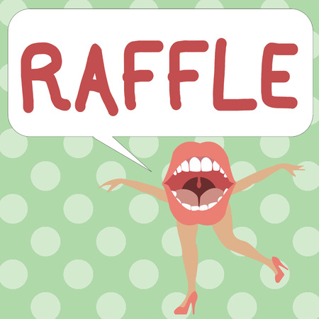 Handwriting text writing Raffle. Concept meaning means of raising money by selling numbered tickets offer as prize. Foto de archivo - 108618514