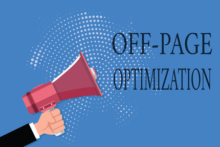 Word writing text Off Page Optimization. Business concept for Website External Process Promotional Method Ranking. Stock Photo