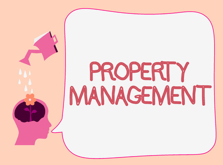 Writing note showing Property Management. Business photo showcasing Overseeing of Real Estate Preserved value of Facility.