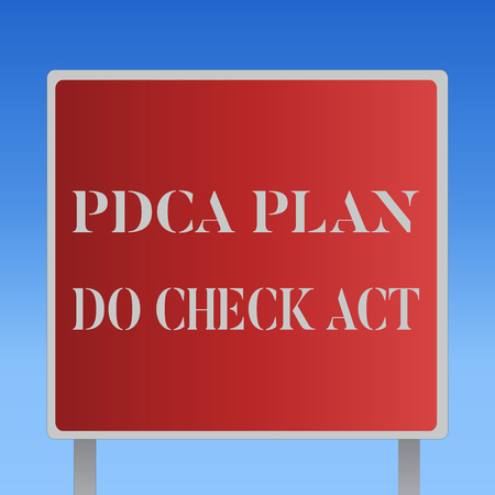 Writing note showing Pdca Plan Do Check Act. Business photo showcasing Deming Wheel improved Process in Resolving Problems. Foto de archivo