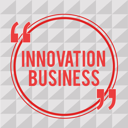 Writing note showing Innovation Business. Business photo showcasing Introduce New Ideas Workflows Methodology Services. Stock Photo