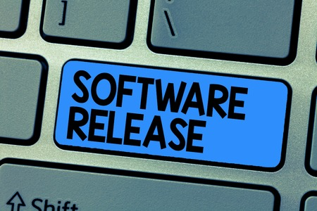 Text sign showing Software Release. Conceptual photo sum of stages of development and maturity for program.