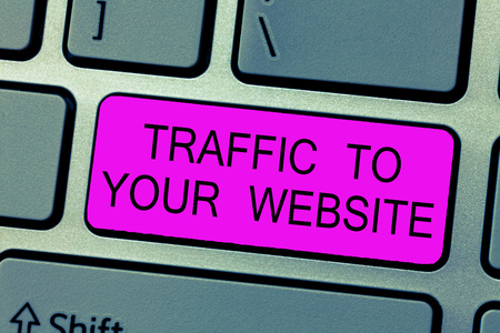 Text sign showing Traffic To Your Website. Conceptual photo Lifeblood of online business more Potential Leads. Banco de Imagens