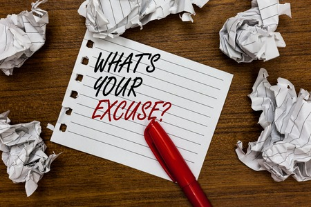 Conceptual hand writing showing What s is Your Excuse question. Business photo showcasing Explanations for not doing something Inquiry Written white page touched red marker scattered paper lump Stock fotó