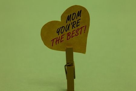 Handwriting text Mom You re are The Best. Concept meaning Appreciation for your mother love feelings compliment Celadon color background paper clip hold love heart for loving with words
