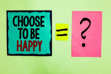 Signo de texto que muestra Elija ser feliz. Foto conceptual decidir estar de buen humor smiley alegre contento disfrutar de nota escrita con líneas negras queal medio página rosa signo de interrogación negro