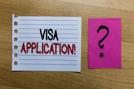 Conceptual hand writing showing Visa Application. Business photo text Form to ask permission travel or live in another country white page on wooden desk with words violet with question mark Standard-Bild