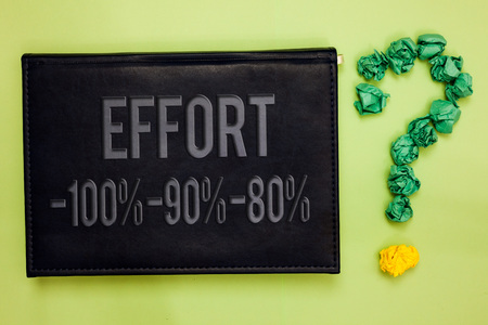 Escritura de texto Word Esfuerzo 100 90 80. Concepto de negocio para el nivel de determinación disciplina motivación Tablón verde trasero negro con texto verde papel lob forma interrogación