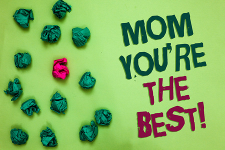 Writing note showing Mom You re are The Best. Business photo showcasing Appreciation for your mother love feelings compliment Olive color floor scattered some green lump mid pink lob near words