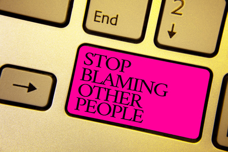 Word writing text Stop Blaming Other People. Business concept for Do not make excuses assume your faults guilt Bright golden computer keyboard with pink button black color written texts