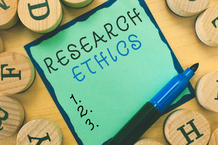 Writing note showing  Research Ethics. Business photo showcasing interested in the analysis of ethical issues that raised .