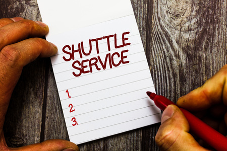 Text sign showing Shuttle Service. Conceptual photo vehicles like buses travel frequently between two places. Reklamní fotografie