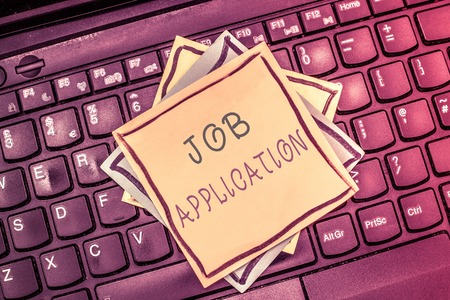 Text sign showing Job Application. Conceptual photo The standard business document serves a number of purposes. Stock Photo