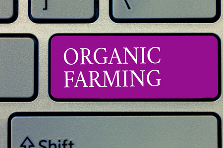 Conceptual hand writing showing Organic Farming. Business photo text an integrated farming system that strives for sustainability.