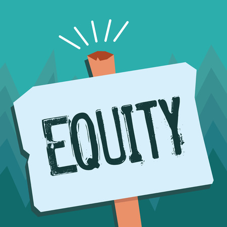 Conceptual hand writing showing Equity. Business photo showcasing quality of being fair and impartial race free One hand Unity.