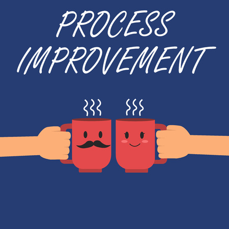 Writing note showing Process Improvement. Business photo showcasing Optimization Meet New Quotas Standard of Quality. Stock Photo