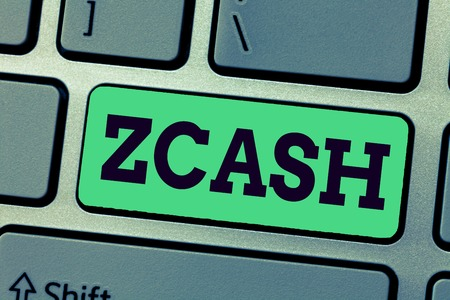 Handwriting text writing Zcash. Concept meaning cryptocurrency with decentralized blockchain that provides anonymity.