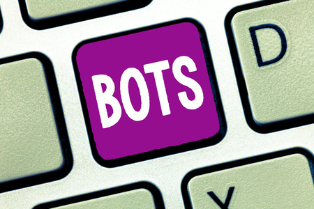 Word writing text Bots. Business concept for Automated program that runs over the Internet Artificial intelligence. Stock fotó