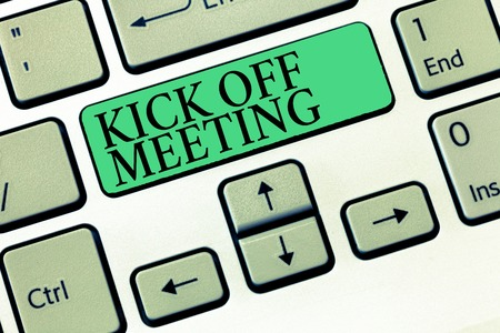 Text sign showing Kick Off Meeting. Conceptual photo getting fired from your team private talking about company.