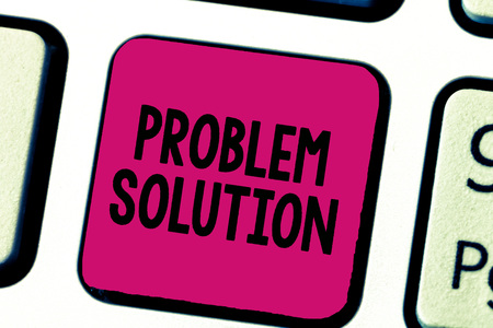Writing note showing Problem Solution. Business photo showcasing solving consists of using generic methods in orderly manner.