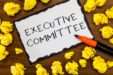 Writing note showing Executive Committee. Business photo showcasing Group of Directors appointed Has Authority in Decisions. 版權商用圖片