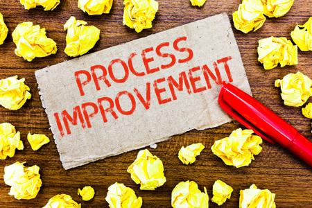 Text sign showing Process Improvement. Conceptual photo Optimization Meet New Quotas Standard of Quality.