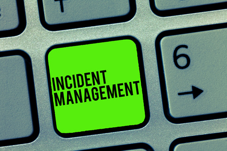 Text sign showing Incident Management. Conceptual photo Process to return Service to Normal Correct Hazards.