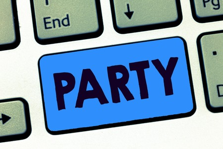 Word writing text Party. Business concept for social gathering invited guests involve eating drinking entertainment. Banco de Imagens - 108852158