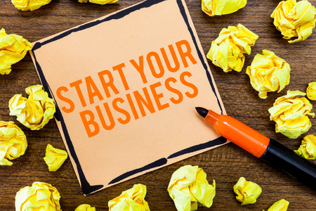 Writing note showing Start Your Business. Business photo showcasing going into a New Venture Create New Product Services.