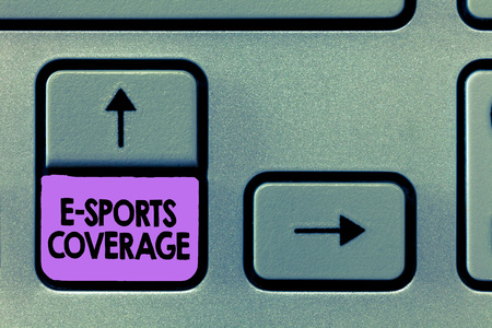 Handwriting text E Sports Coverage. Concept meaning Reporting live on latest sports competition Broadcasting.