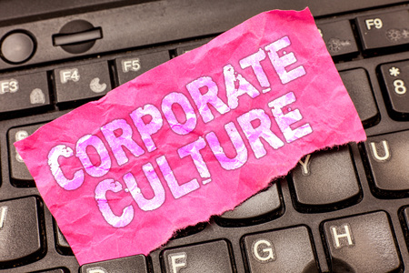 Writing note showing Corporate Culture. Business photo showcasing Beliefs and ideas that a company has Shared values. Archivio Fotografico