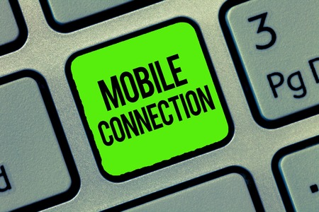 Writing note showing Mobile Connection. Business photo showcasing Secure universal login solution using mobile phone.