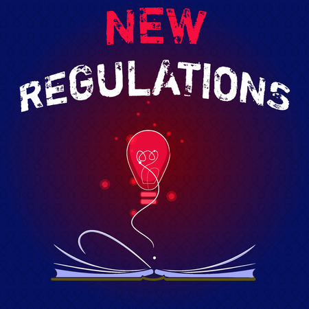 Writing note showing New Regulations. Business photo showcasing Regulation controlling the activity usually used by rules.. Imagens