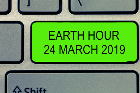 Conceptual hand writing showing Earth Hour 24 March 2019. Business photo text Celebrate Sustainability Save the Planet Lights Off. Stock Photo