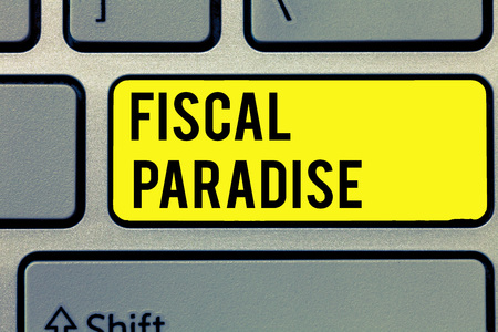 Text sign showing Fiscal Paradise. Standard-Bild