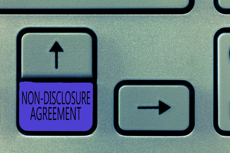 Conceptual hand writing showing Non Disclosure Agreement. Business photo showcasing Legal Contract Confidential Material or Information.